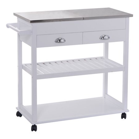 Costway White Rolling Kitchen Trolley Cart Stainless Steel Flip Top W Drawers Casters