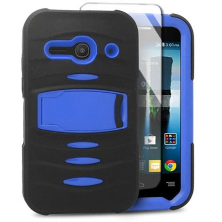 Insten Soft Dual Layer Rubber Hard Phone Case with stand For Alcatel One Touch Evolve 2 -