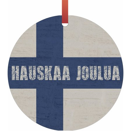 Finland Ribbons - Finland Flag - Hauskaa Joulua Hanging Round Shaped Tree Ornament - (Flat) - Holiday Christmas - Tm - Made in the USA