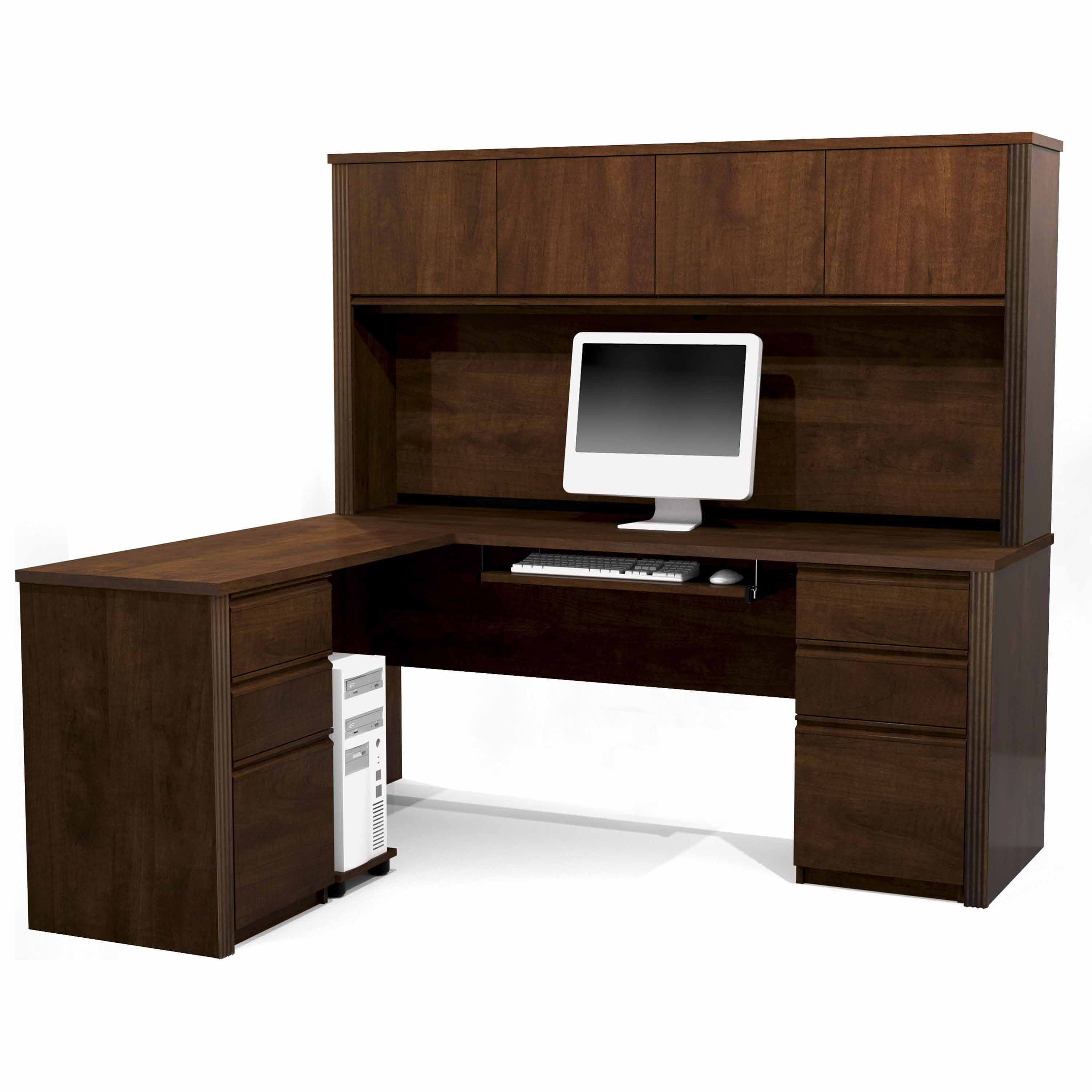 Prestige + L-shaped workstation including two pedestals in Chocolate
