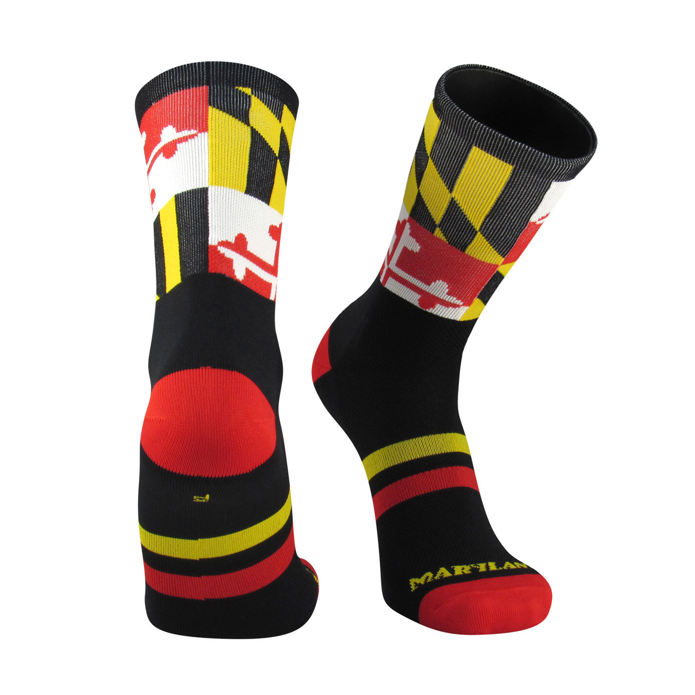 "TCK Elite Flag 6"" Crew Socks - MARYLAND 3.0 - Black/Gold/White/Scarlet - proDRI"