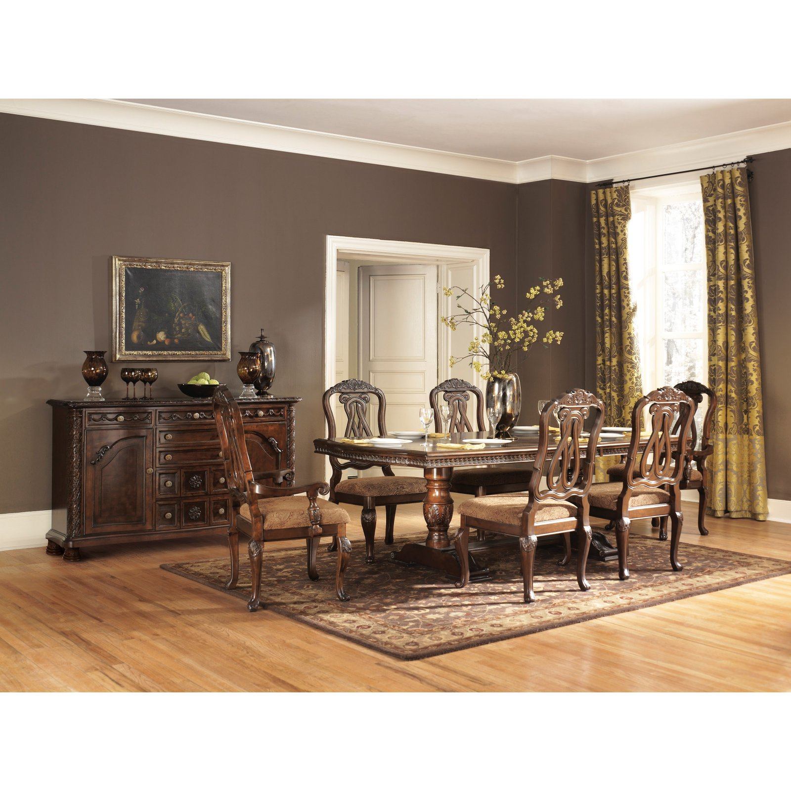 Roundhill Furniture Sunhill 7 Piece Formal Rectangular Dining Table Set