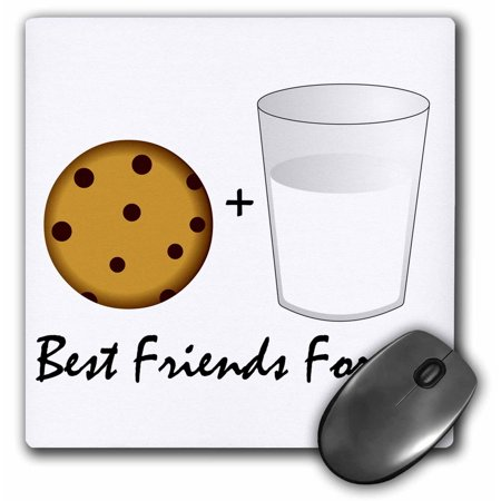 3dRose Cute Cartoon Milk and Cookies - Best Friends Forever, Mouse Pad, 8 by 8