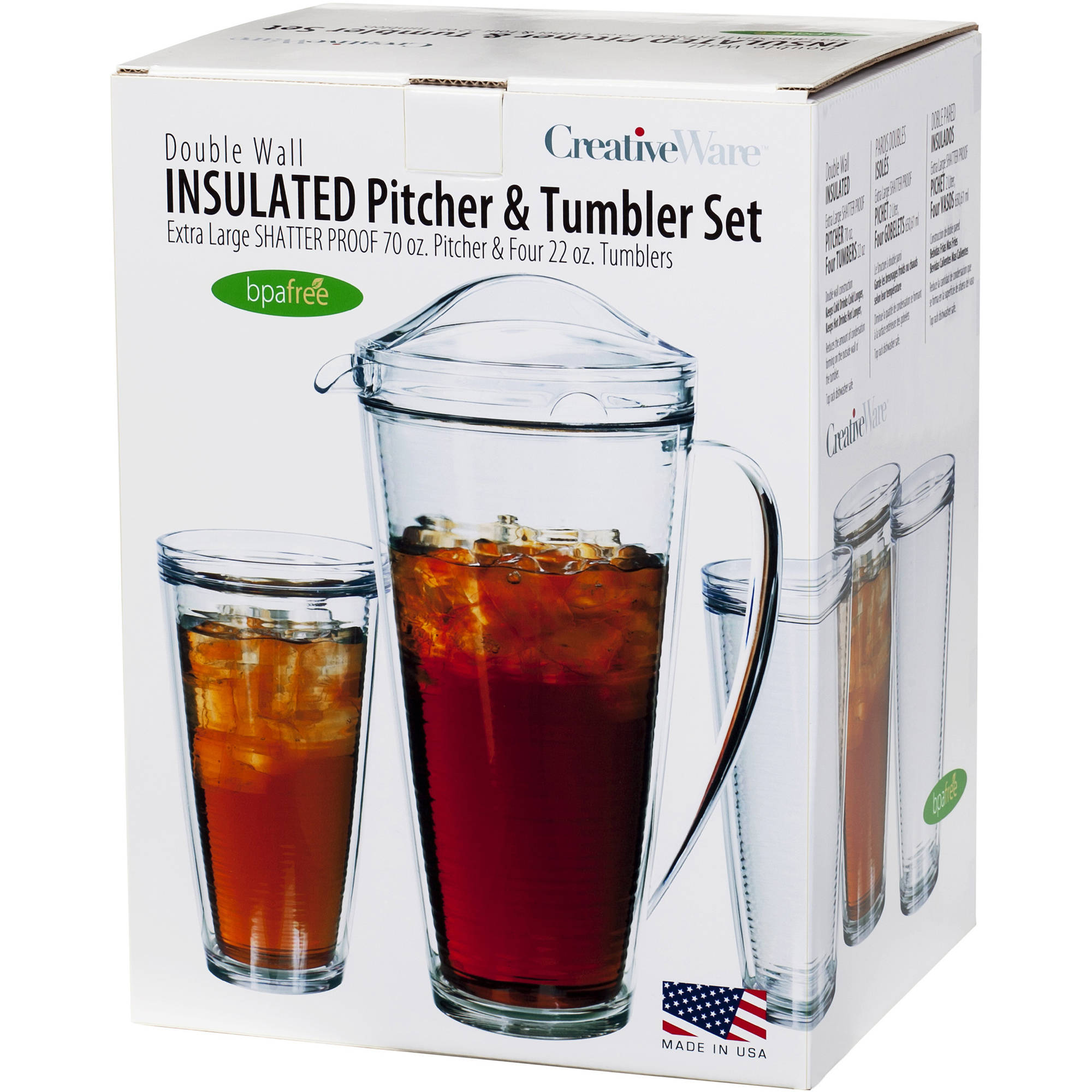 Generic Creative Ware Insulated Pitcher and Tumbler Set, 70 oz Pictcher and 4 22 oz Tumblers