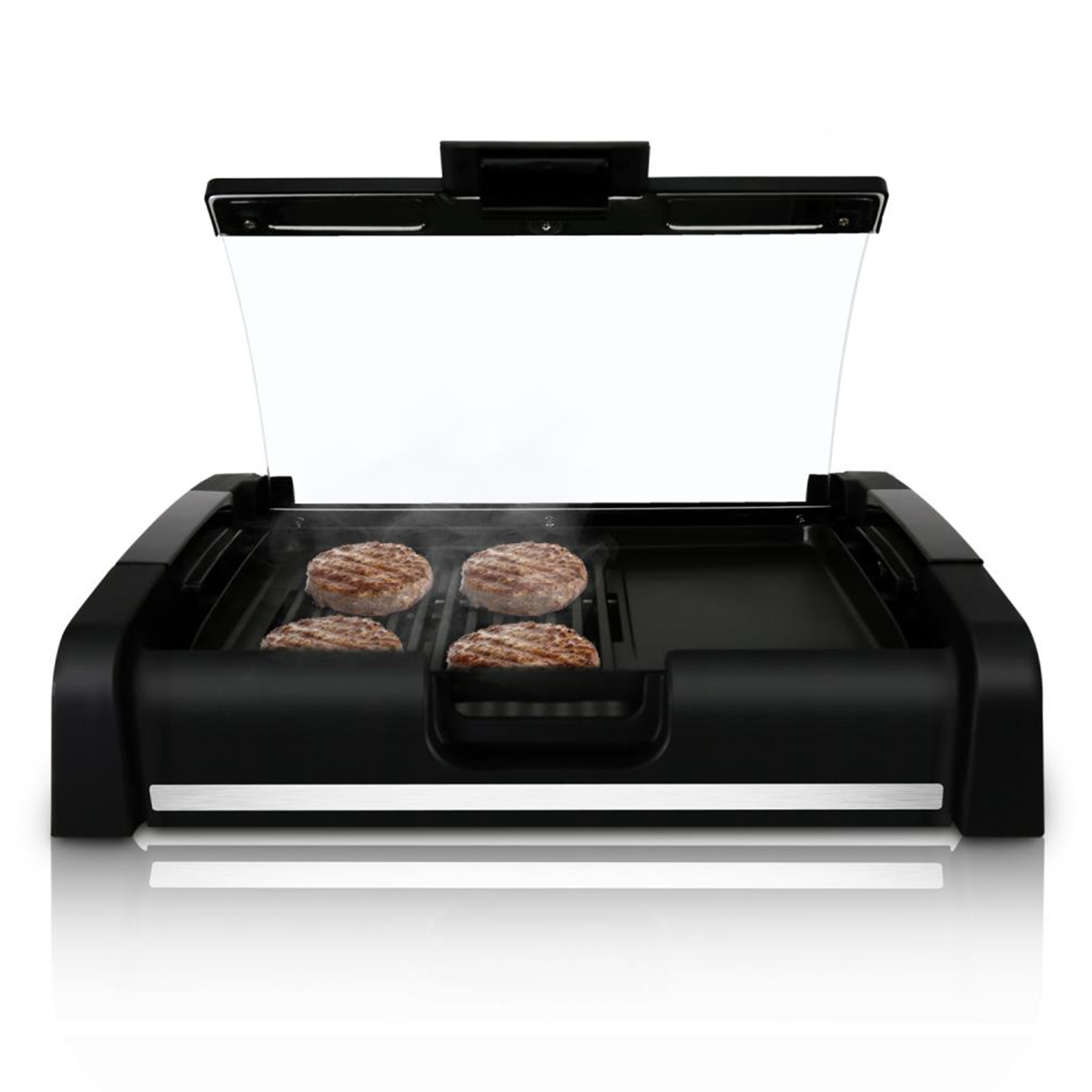Nutrichef Electric Grill & Griddle Cooktop - Crepe Maker Hot Plate Cooktop with Glass Lid