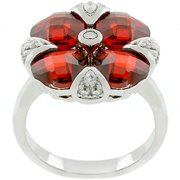 Sunrise Wholesale J2174 White Gold Rhodium Garnet Artisan Ring - Size 05