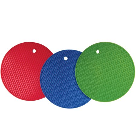 Better Kitchen Products, Set of 3, Large Silicone Pot Holders, Hot Pads, Trivets, 7 Inch, Blue, Lime Green &