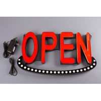 "LEDUPDATES Bright LED Neon Light OPEN Sign 19"" Animated + on/off switch UL Power"