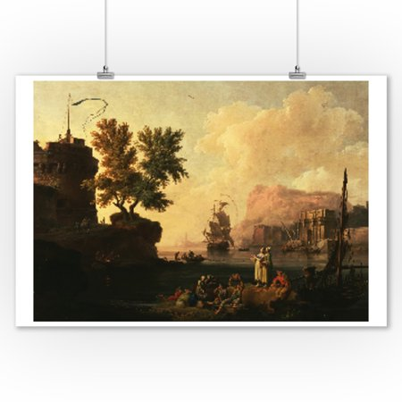 Mediterranean Harbor Scene - Masterpiece Classic - Artist: Pierre-Jacques Volaire c. 1763 (9x12 Art Print, Wall Decor Travel Poster)