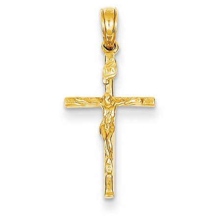 14k Yellow Gold INRI Hollow Crucifix (14k Hollow Crucifix Pendant)