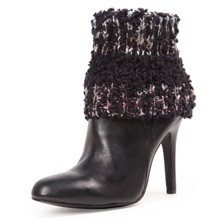 MeMoi Collection Bullait Thick Knit Boot Topper - Best Winter Gift for Women by MeMoi One Size / Black LF7