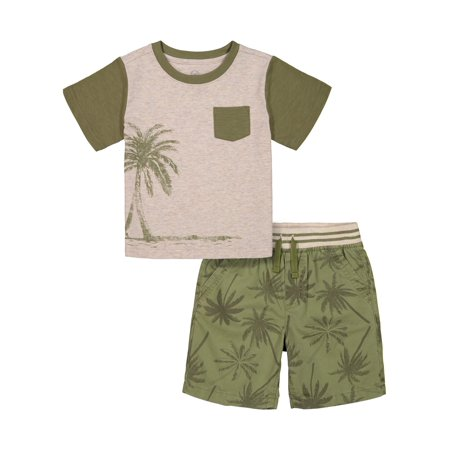 Wonder Nation Palm Tree Graphic Pocket T-Shirt & Palm Tree Printed Drawstring Shorts, 2-Piece Outfit Set (Toddler Boys)