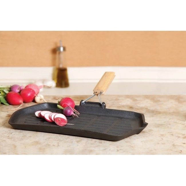 Gibson Cast Iron Griddle/ Grill with Wooden Handles