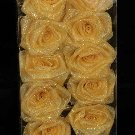 Club Pack of 6 Elegant Gold Rose Flower Wired Craft Garland...