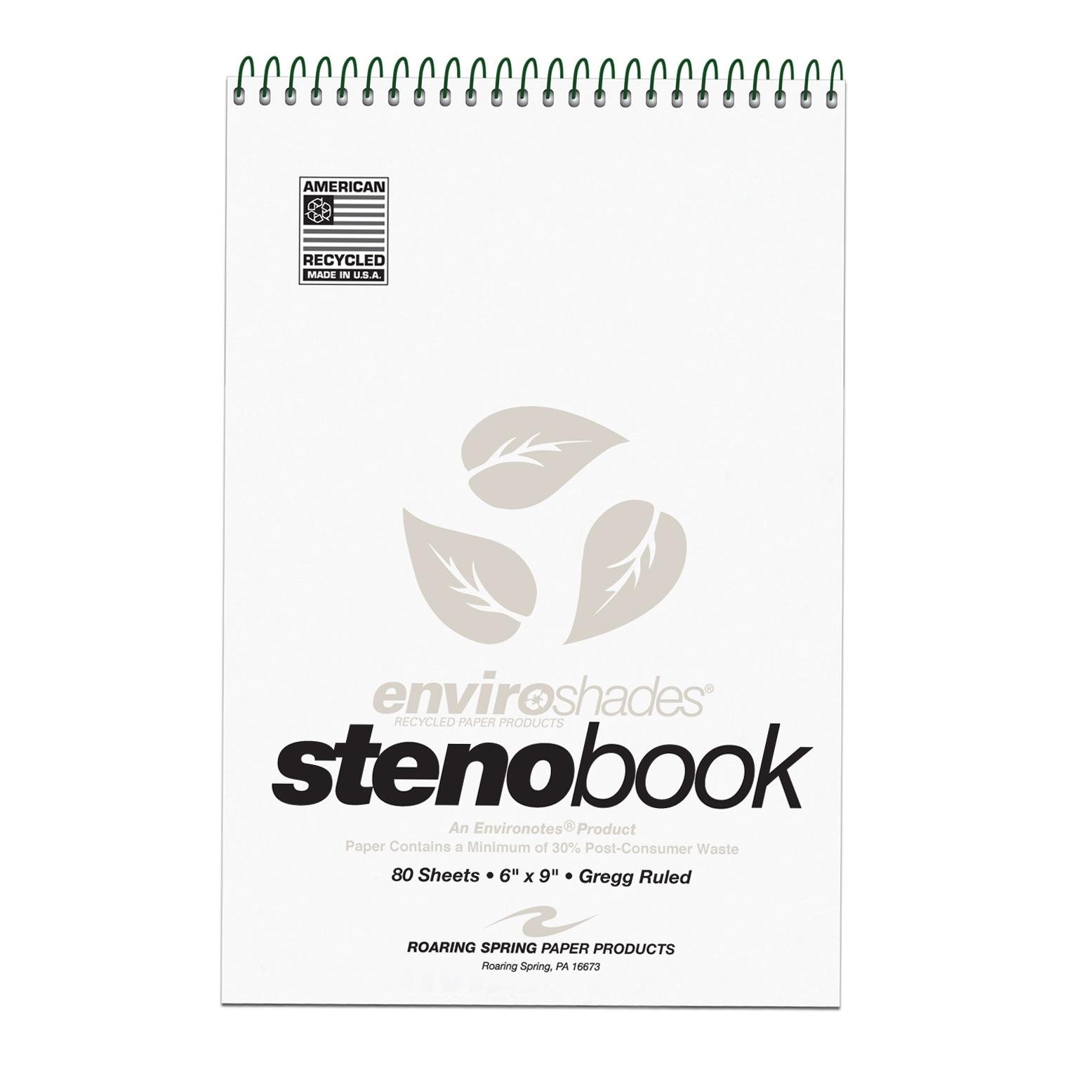 ENVIROSHADES 6X9 STENO 4/PK GREGG RULED GREY PAPER