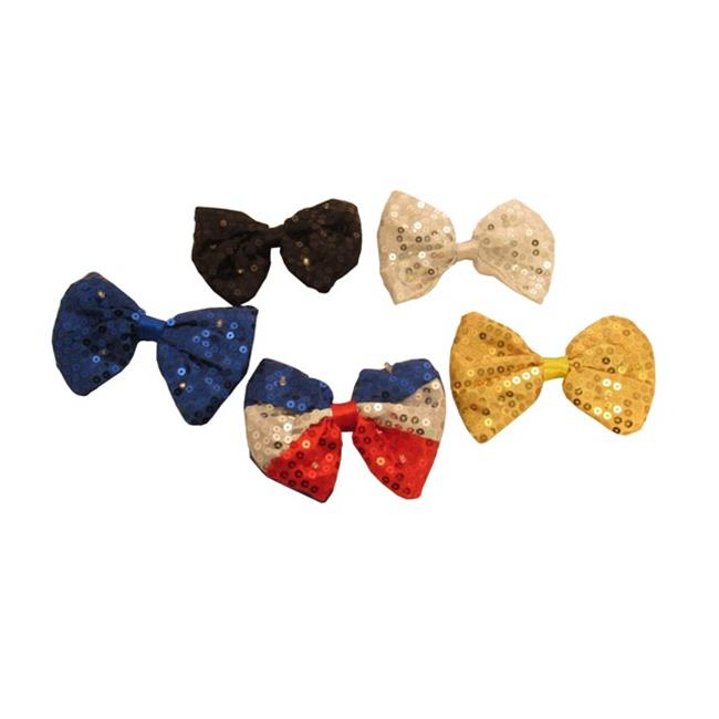 WeGlow International 20BT1NA Light Up Sequin Bow Tie - Assorted - Set Of 4