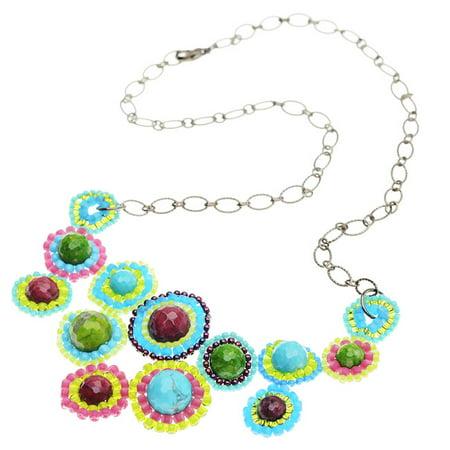 Glass Garden DIY Beading Kit, Spinning Wheels Necklace, 1 Kit, Blueberry