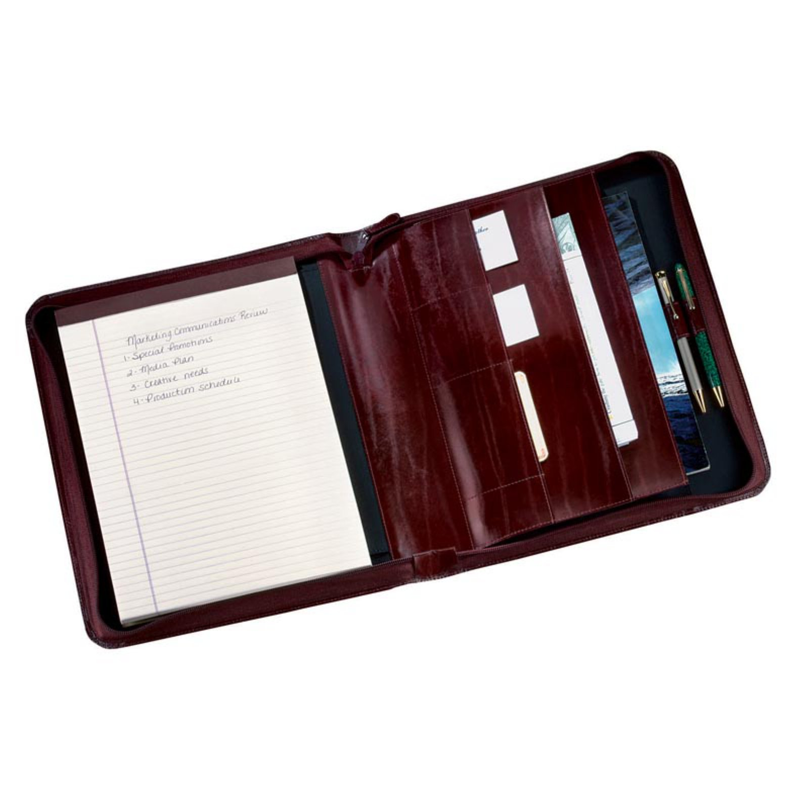 Convertible Leather Zippered Padfolio