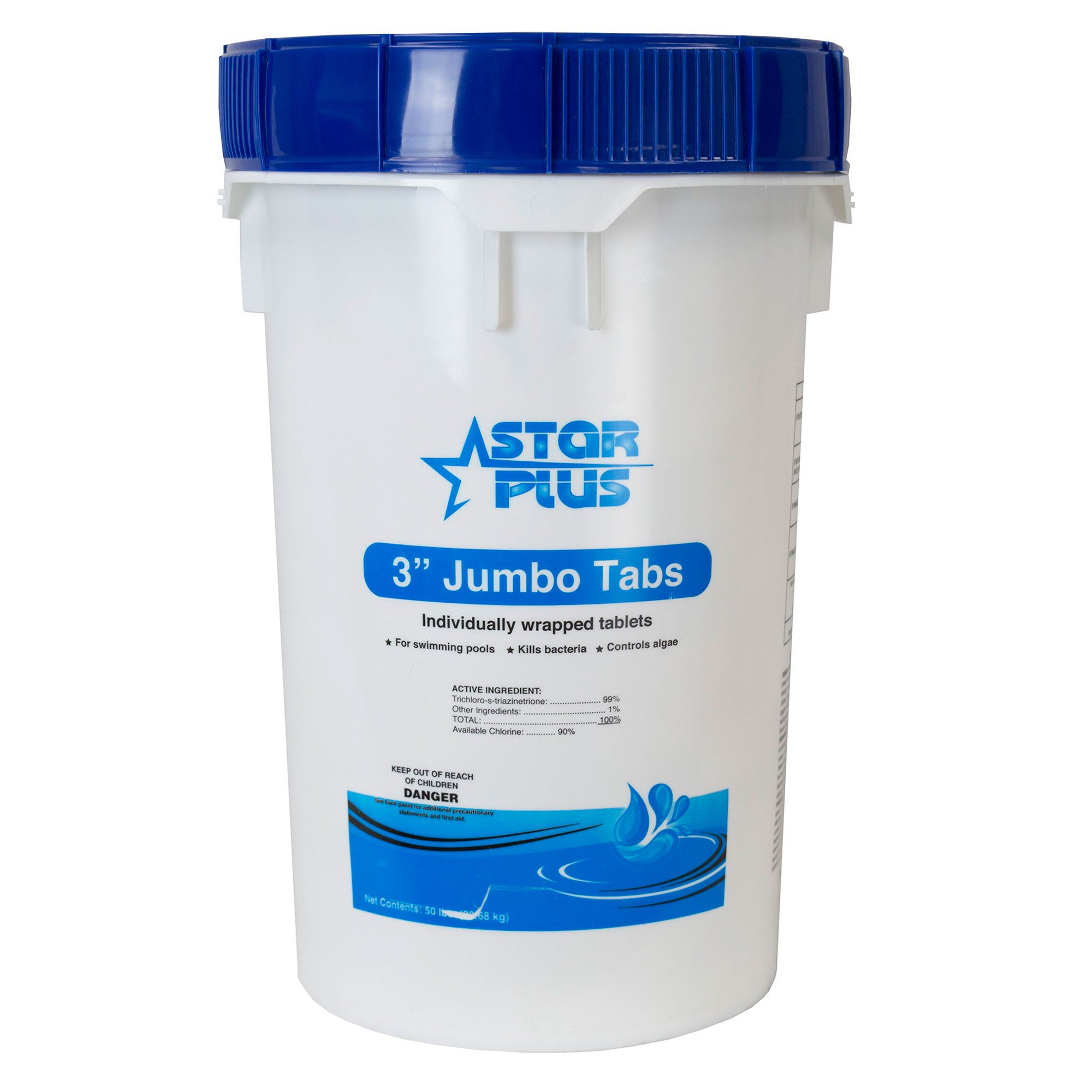 Star Plus Wrapped Trichlor Jumbo 3-Inch Pool Chlorine Tablets, 50 Pounds