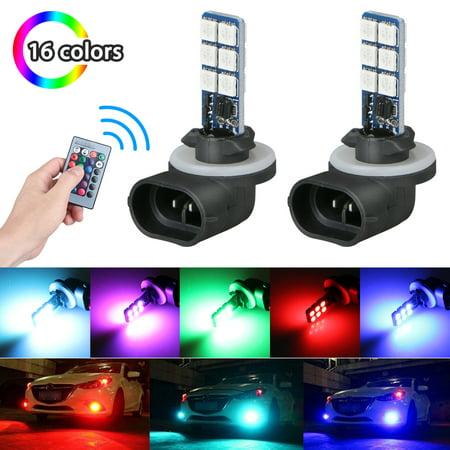 LED Fog Light, EEEKit 2-Pack 16 Colors 881 Fog Light Bulbs 5050 RGB Car Headlight with 24-Key Remote Controller, DC12V 27W (Rgb Color Headlight)