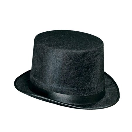 Club Pack of 12 Jet Black Top Hat Halloween Costume Party Accessories 10.75