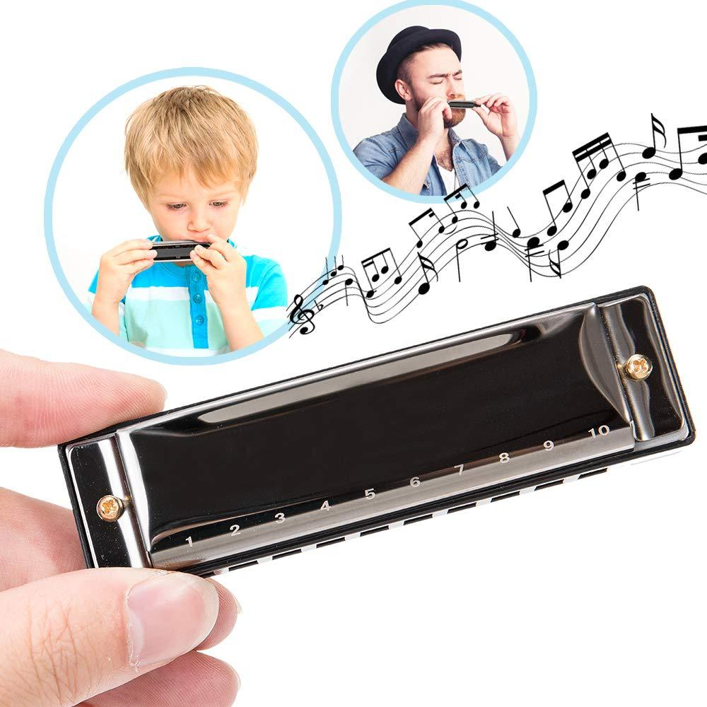 Harmonica,2 Piece Harmonica for Beginners,Harmonica for kids,10 Holes 20 Tunes Mouth Organ Key of C Major for Beginner black Adults Kids Gift