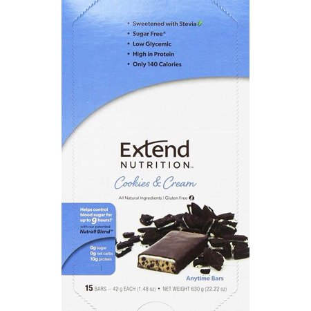 Extend Nutrition Bar, Cookies & Cream, 9g Protein, 15 Ct