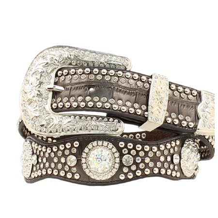Nocona Western Belt Womens Leather Crystal Concho Gator Black (Crystal Concho Belt)