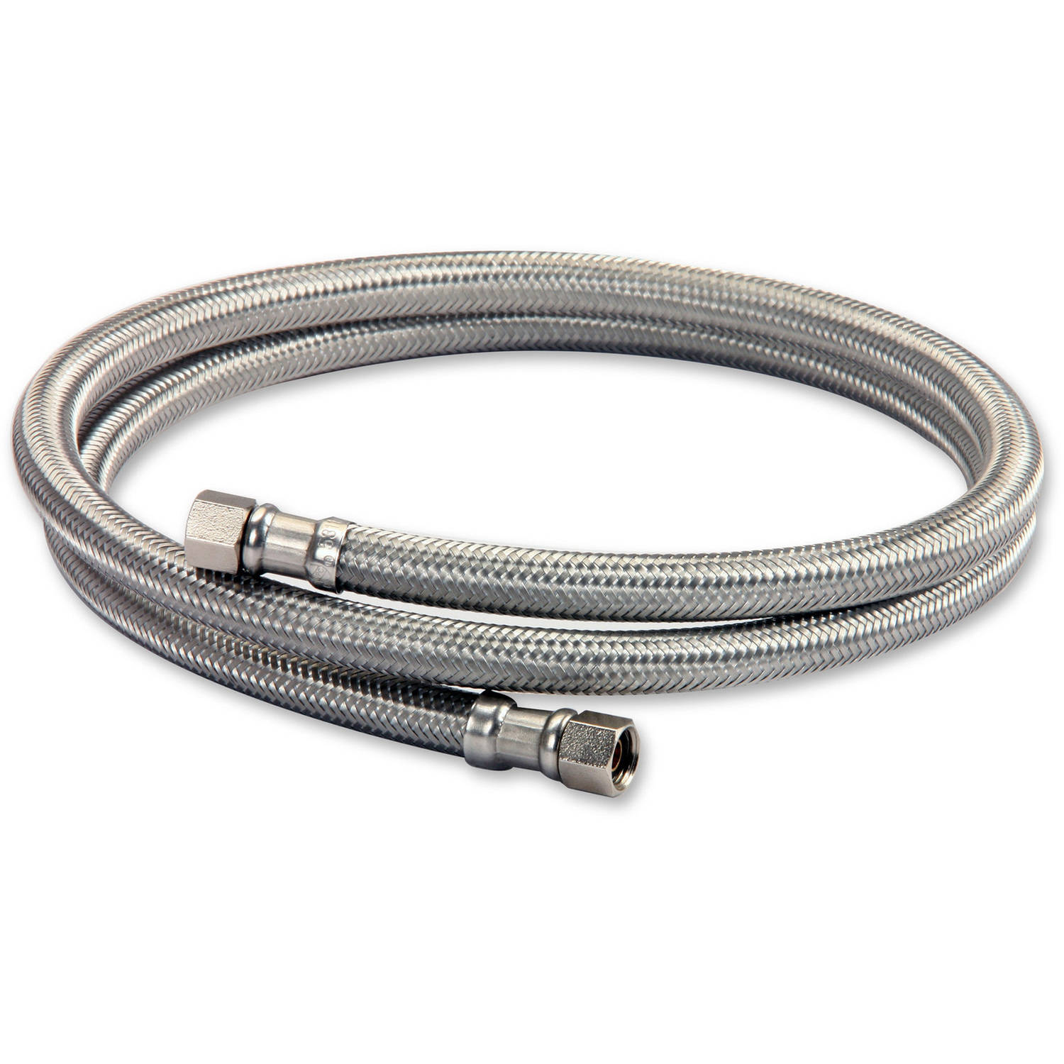 "Everflow Supplies 26610-NL Lead Free Stainless Steel Braided Ice Maker Supply Line with Two 1/4"" Fittings on Both Ends, 120"""
