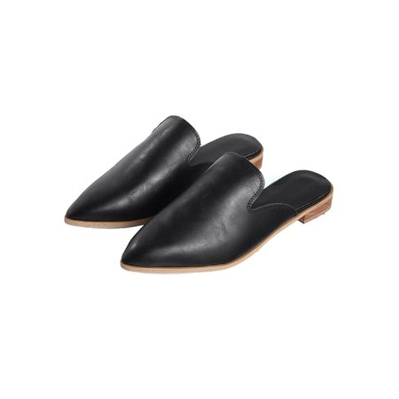 Women Low Heel Mules Flat Summer Sandals Pointed Toe Slip On Shoes Slippers