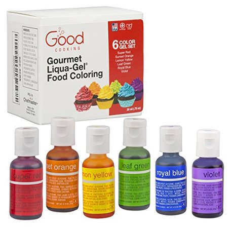 Food Coloring Liqua-Gel - 6 Color Rainbow Kit in .75 fl. oz. (20ml) Bottles