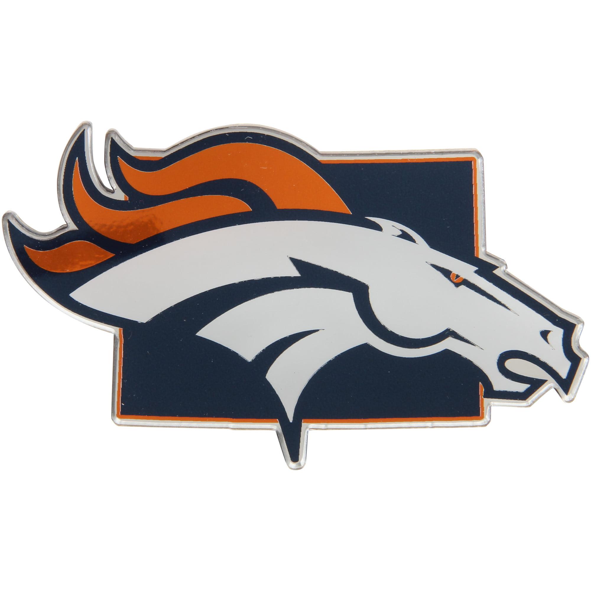 Denver Broncos State Shape Acrylic Metallic Auto Emblem - No Size