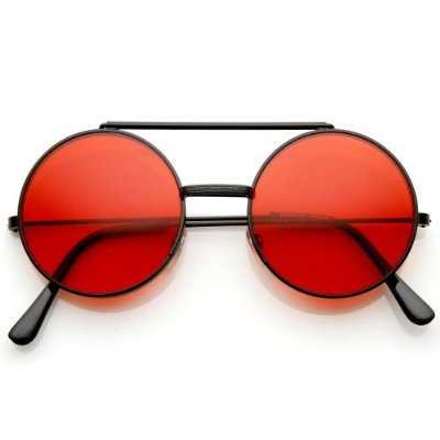2efb43e0ab zeroUV - Limited Edition Color Flip-Up Lens Round Circle Django Sunglasses  (Red)