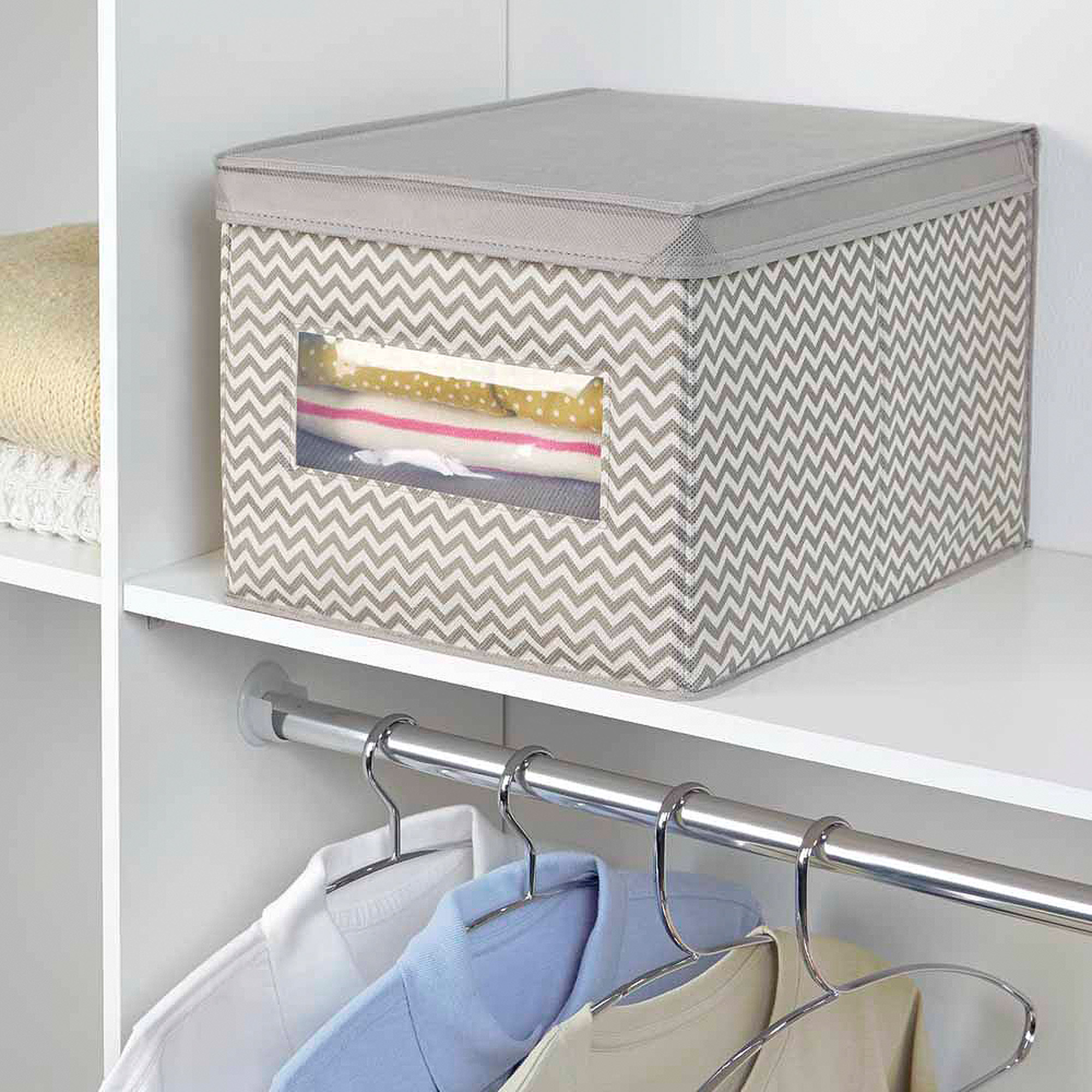 InterDesign Chevron Fabric Closet Dresser Drawer Storage Organizer, Box for Clothing,... by INTERDESIGN