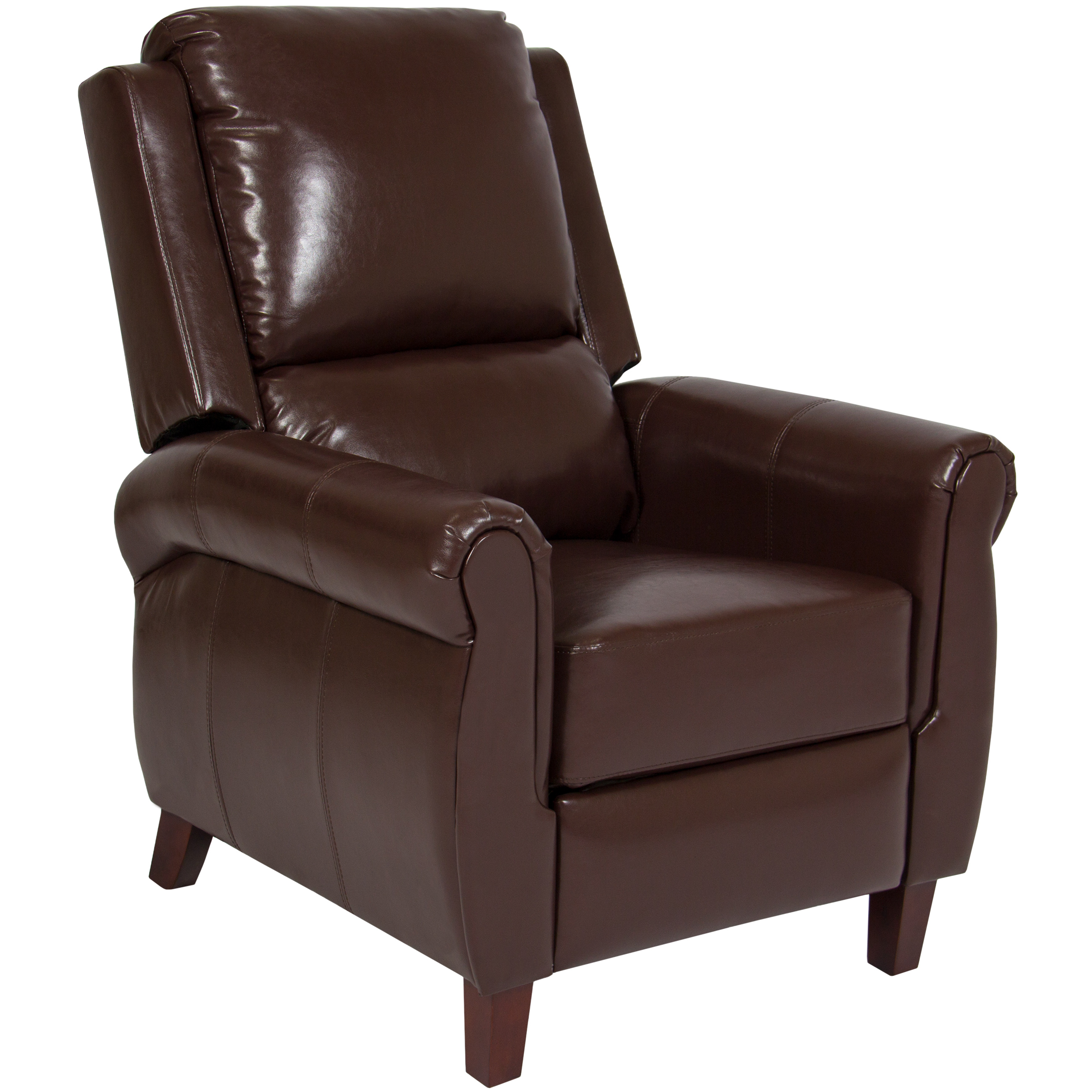 Best Choice Products Deluxe Leather Home Theater Recliner Chair W/ Wood  Legs (Brown)