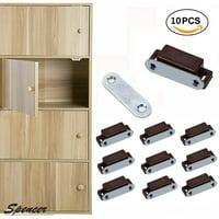 "Spencer Pack of 10 Magnetic Cabinet Door Latch Heavy Duty Furniture Door Catches Closures for Kitchen Cupboard Stop Self-Aligning Magnet Latch ""Brown"""