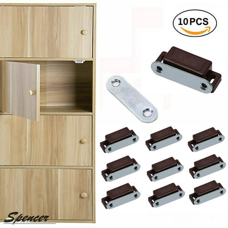 Spencer Pack of 10 Magnetic Cabinet Door Latch Heavy Duty Furniture Door Catches Closures for Kitchen Cupboard Stop Self-Aligning Magnet Latch