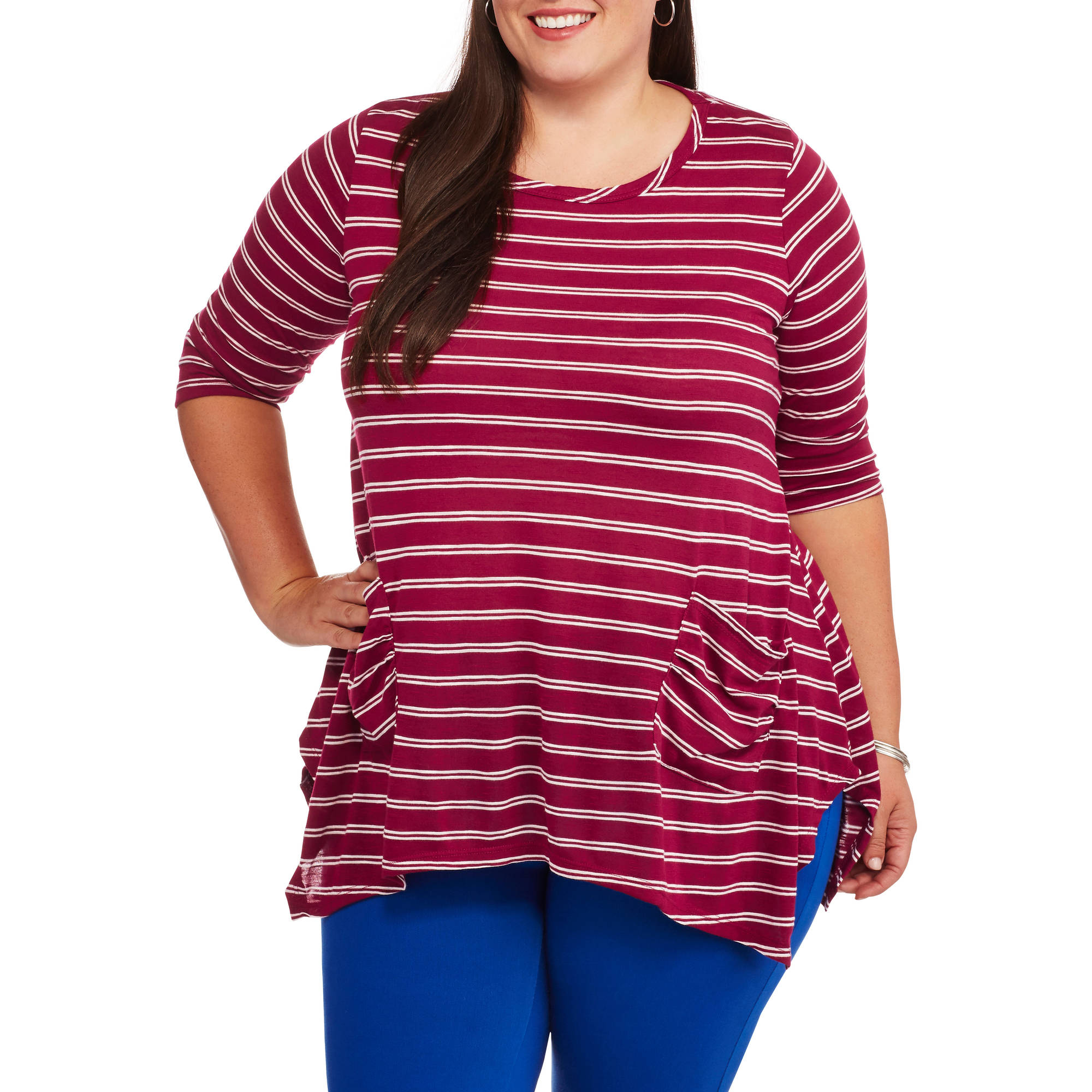 French Laundry Women's Plus Stripe 3/4 Sleeve Sharkbite Top with Pockets