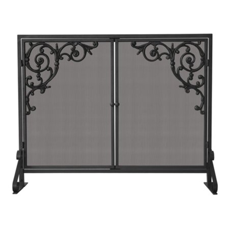 Uniflame Single Panel Olde World Iron Screen with Doors and Cast Scrolls