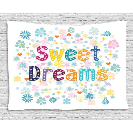 Sweet Dreams Tapestry, Colorful Letters with Little Flowers on a Blossoming Background Slumber Party, Wall Hanging for Bedroom Living Room Dorm Decor, 60W X 40L Inches, Multicolor, by Ambesonne (Wall Backgrounds For Parties)