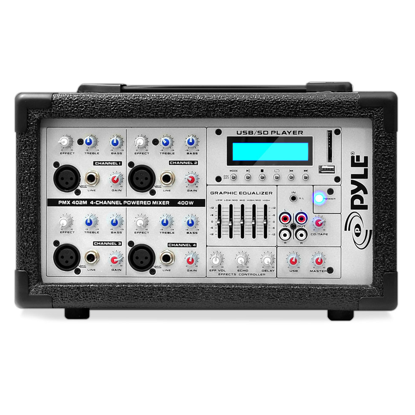 pyle pro pmx402m 400 watt 4 channel powered mixer with mp3 usb input. Black Bedroom Furniture Sets. Home Design Ideas