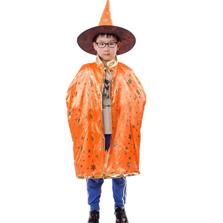 Binmer® Childrens' Halloween Costume Wizard Witch Cloak Cape Robe and Hat for Boy Girl Orange - Wizard Costume Boy