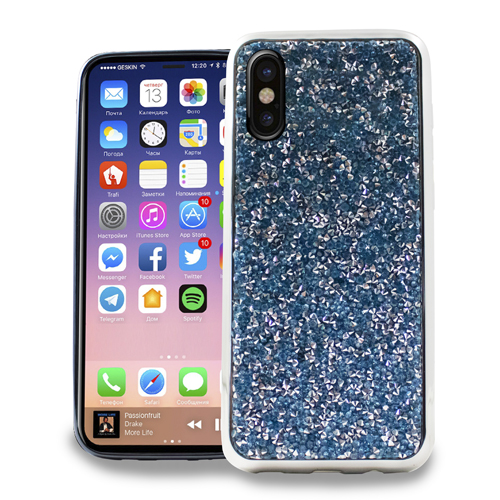 MUNDAZE Teal Mint Crystal Diamond Stones Case For Apple iPhone X Phone