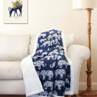 Elephant Parade Sherpa Throw Blanket, Multiple Colors