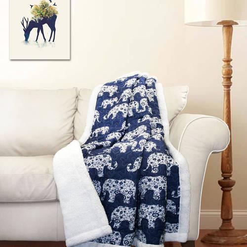 Elephant Parade Sherpa Throw Blanket, Tangerine
