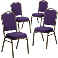 Flash Furniture 4pk HERCULES Series Crown Back Stacking Banquet Chair with Purple Fabric and 2.5'' Thick Seat, Gold Vein Frame