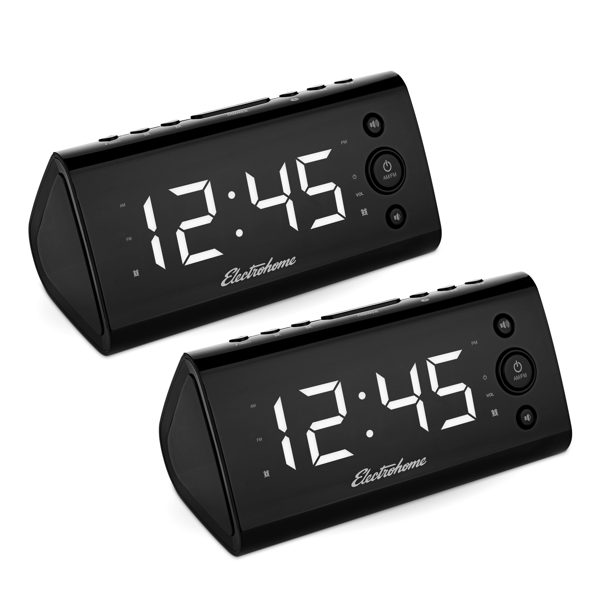 """Electrohome Alarm Clock Radio with USB Charging for Smartphones & Tablets includes Dual Alarm, Battery Backup, Auto Time Set & 1.2"""" LED Display with 4 Dimming Options - 2 PACK"""