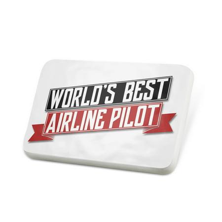 Porcelein Pin Worlds Best Airline Pilot Lapel Badge –