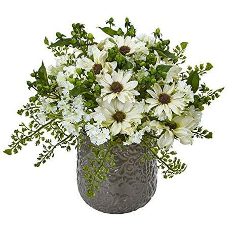 Nearly Natural Daisy Bush Silk Arrangement in Vase, White - image 1 de 1