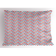 Retro Pillow Sham Zig Zag Chevron Style Geometric Pattern Design in Pastel Colors Print, Decorative Standard Queen Size Printed Pillowcase, 30 X 20 Inches, Pale Blue Red and White, by Ambesonne